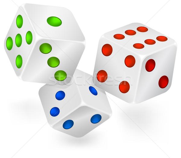 Drie casino gokken Rood zwarte dobbelstenen Stockfoto © creatOR76