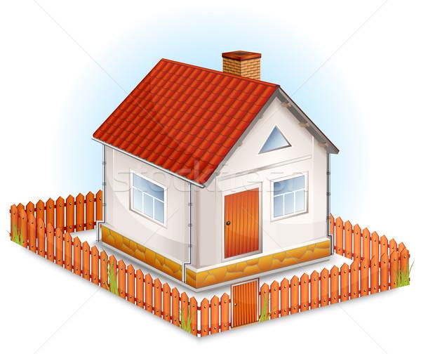 Klein huis hek dorp venster deur Stockfoto © creatOR76
