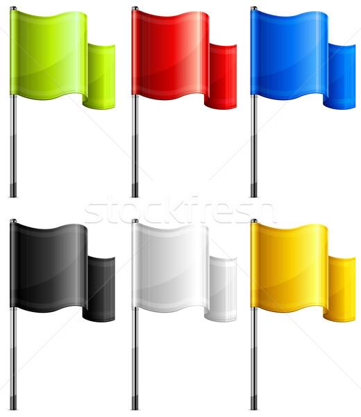 Rectangulaire drapeaux couleur métal mât Photo stock © creatOR76
