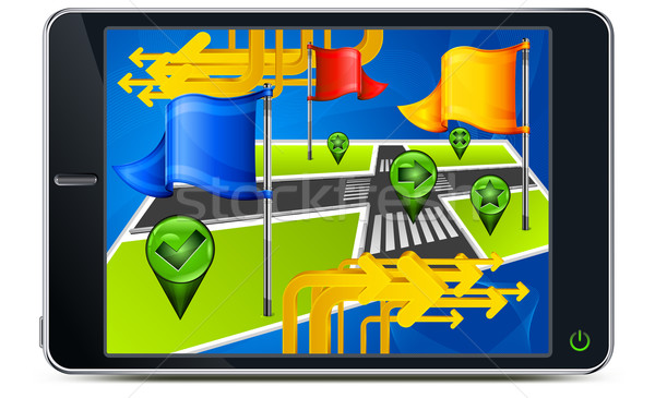 GPS nawigacja ekranu Pokaż flagi podpisania Zdjęcia stock © creatOR76