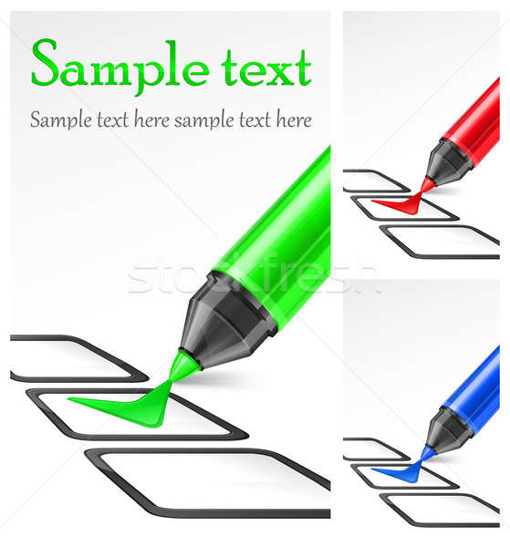 Color markers with check mark & text Stock photo © creatOR76