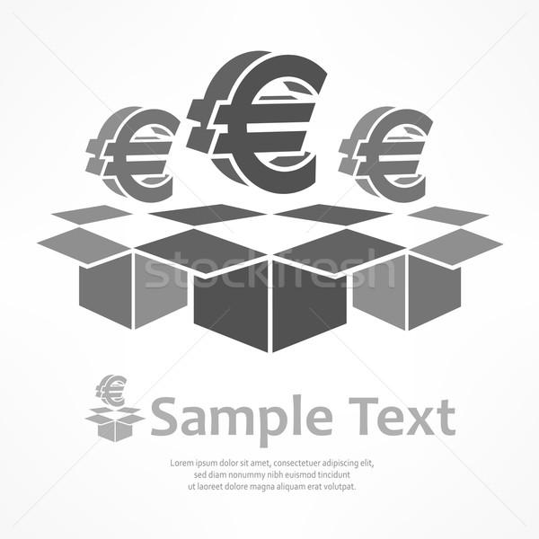 евро признаков коробки открытых серый бизнеса Сток-фото © creatOR76