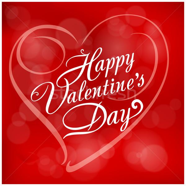 красный счастливым текста формы сердца любви Сток-фото © creatOR76