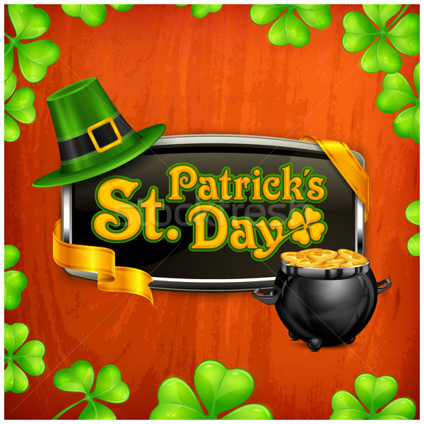 Jour de St Patrick badge vintage vacances design jour Photo stock © creatOR76