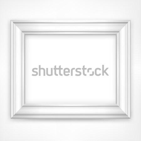 Branco quadro quadro moldura de madeira isolado fundo Foto stock © creatOR76