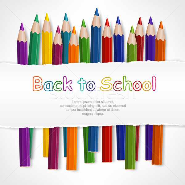 Cor lápis branco papel rasgado texto negócio Foto stock © creatOR76