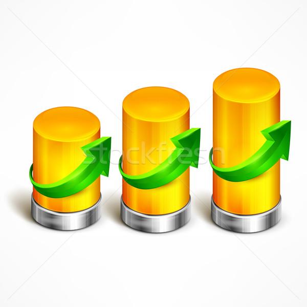 Statistisch element groene pijl bar informatie Stockfoto © creatOR76