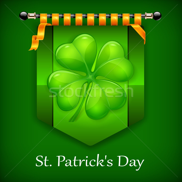 Green lucky four leaf Irish clover flag Stock photo © creatOR76