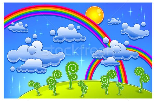 Arco iris paisaje hierba árboles dos Cartoon Foto stock © creatOR76