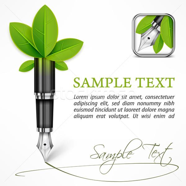 Ecologia caneta-tinteiro folhas negócio escolas verde Foto stock © creatOR76