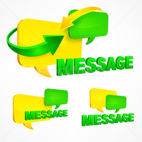 Mensagem discurso seta verde alto-falante Foto stock © creatOR76