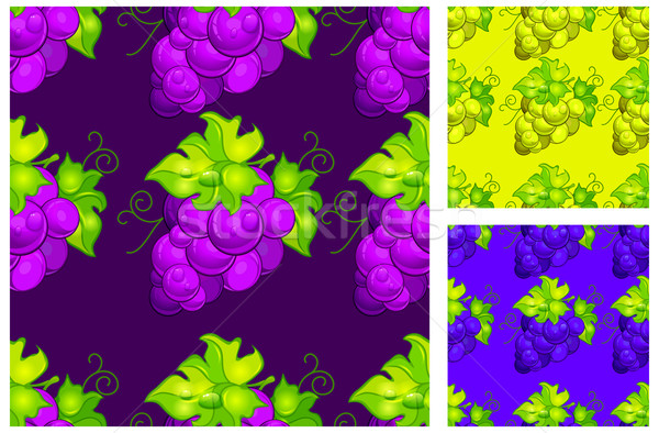 Stock photo: Cluster grapes seamless pattern