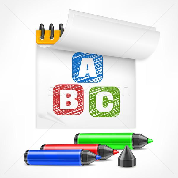 Foto stock: Color · cartas · bloc · de · notas · marcador · símbolo · oficina
