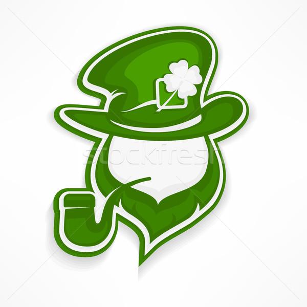 Leprechaun with pipe on white Stock photo © creatOR76