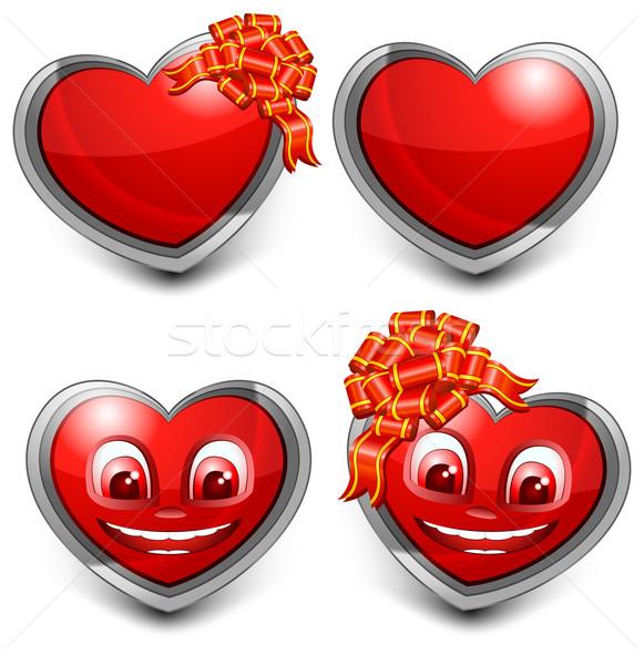 любви сердцах красный сердце лук белый Сток-фото © creatOR76