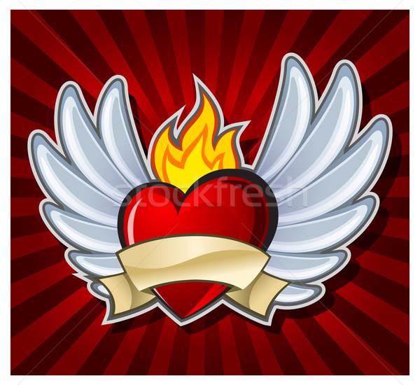 Ateşli kalp kanatlar karanlık arka plan kırmızı Stok fotoğraf © creatOR76