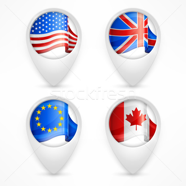 Map pointers with national flags Stock photo © creatOR76
