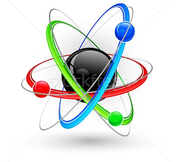 Atom szín szimbólum központi nukleusz háttér Stock fotó © creatOR76
