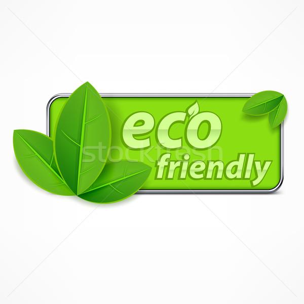çevre dostu etiket yaprakları metin arka plan yeşil Stok fotoğraf © creatOR76