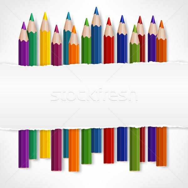 цвета карандашей белый рваной бумаги бизнеса школы Сток-фото © creatOR76