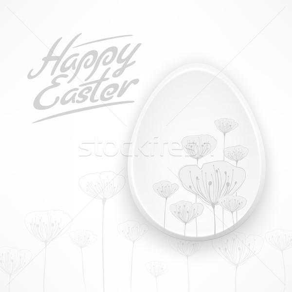 Bianco Pasqua floreale uovo buona pasqua Foto d'archivio © creatOR76