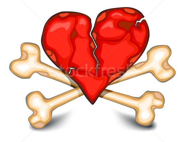 Heart & bones on white Stock photo © creatOR76