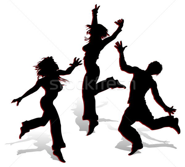 Sziluettek fehér tánc fiatal férfiak illusztráció lány Stock fotó © creatOR76