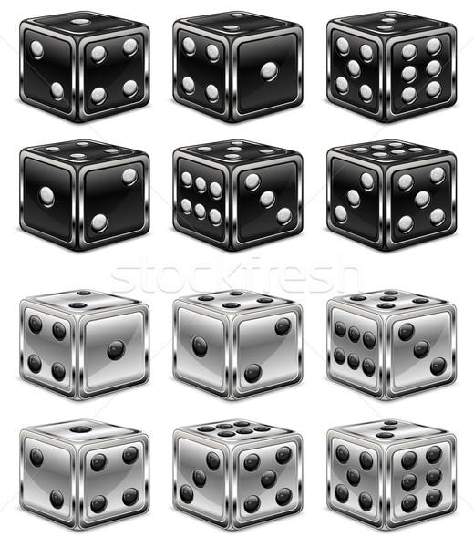 Weiß Casino Glücksspiel Erfolg spielen Würfel Stock foto © creatOR76