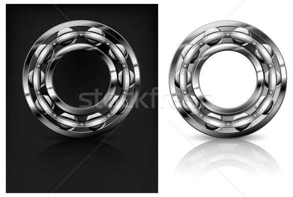 Metal roller bearings on white & black background, vector illust Stock photo © creatOR76