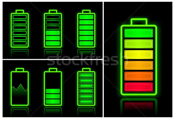 Bateria ícones diferente móvel poder químico Foto stock © creatOR76