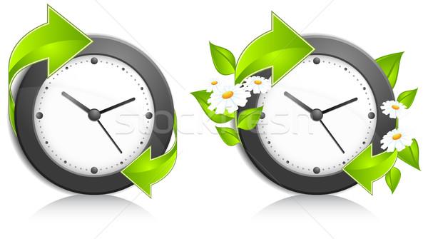 Parede relógio negócio escritório verde Foto stock © creatOR76