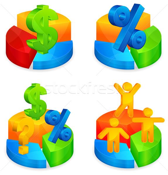 Rundschreiben Diagramme Symbol Farbe Dollar Prozent Stock foto © creatOR76