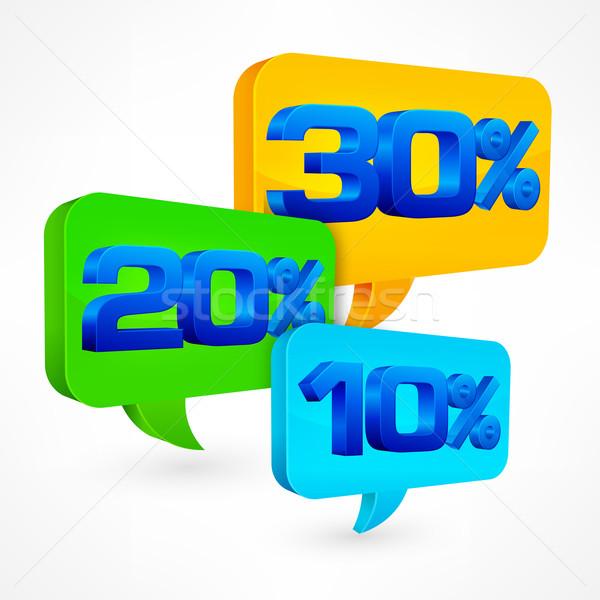 Yüzde konuşma balonu beyaz alışveriş yeşil mavi Stok fotoğraf © creatOR76