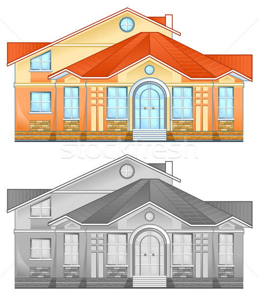 Drawing of country residence Stock photo © creatOR76