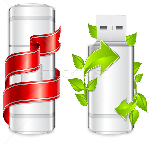 Photo stock: Flash · deux · usb · lecteur · flash · vert · flèche