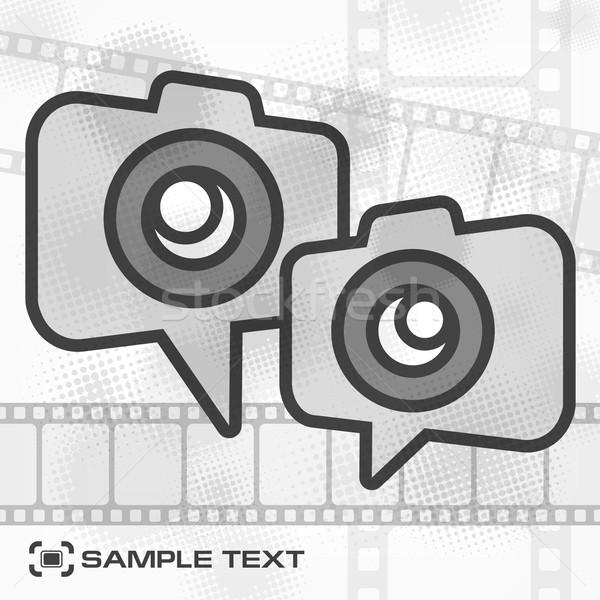 Camera icon filmstrip film schilderij zwarte Stockfoto © creatOR76