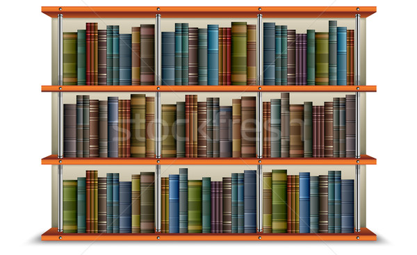 Shelf with books and frame Stock photo © creatOR76