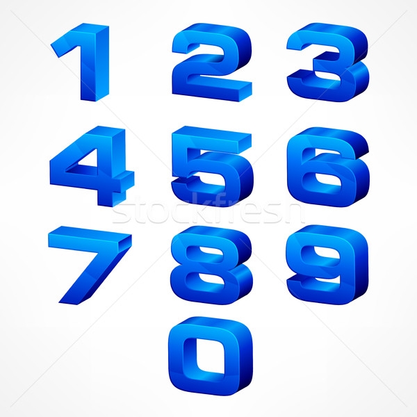 Stock photo: Alphabet isometric numbers in blue