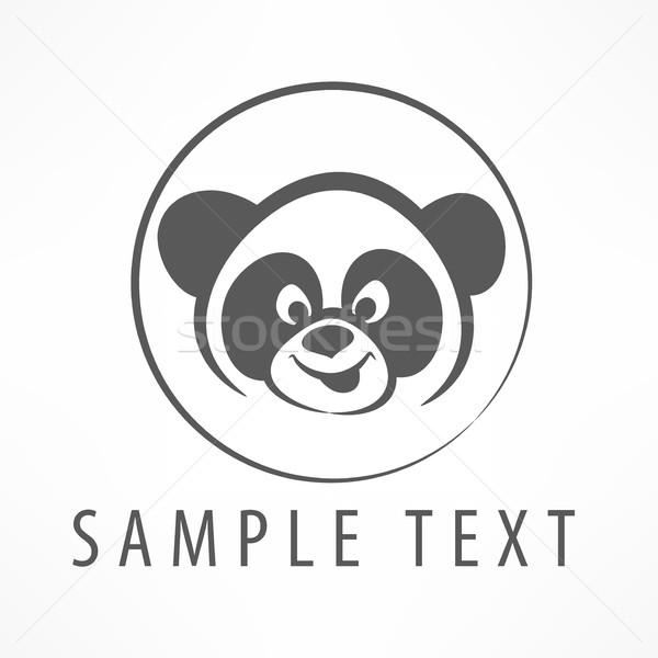 Panda logo kafa daire simge metin Stok fotoğraf © creatOR76