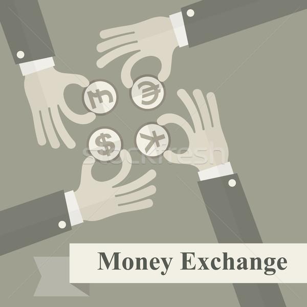 Hand exchange money signs Stock photo © creatOR76
