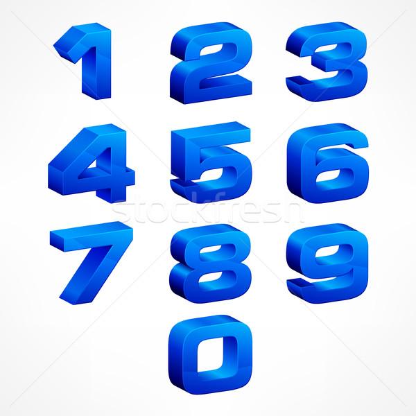 Alfabeto isométrica números azul conjunto vetor Foto stock © creatOR76