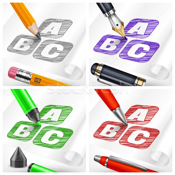 Hand draw sketch letters and pens  Stock photo © creatOR76