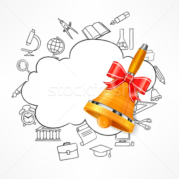 Freehand school illustration & bell Stock photo © creatOR76