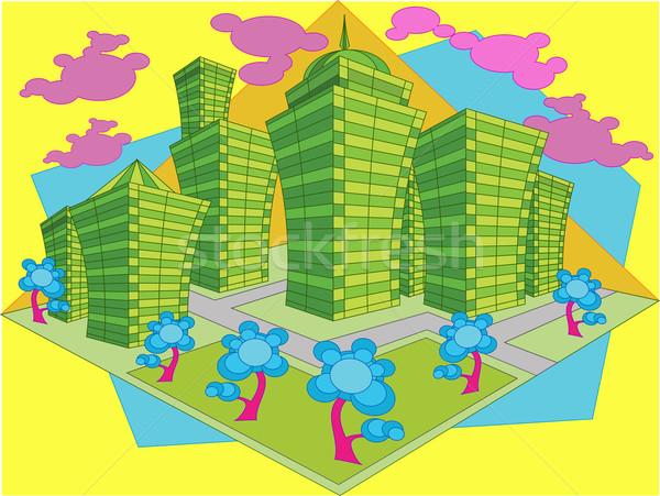 抽象化 市 建物 公園 オフィス ストックフォト © creatOR76
