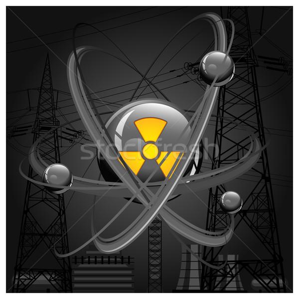 Atom fekete központi nukleusz építkezés háttér Stock fotó © creatOR76