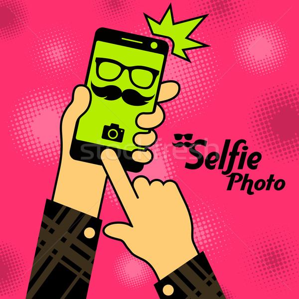 Selfie phone photo in red Stock photo © creatOR76
