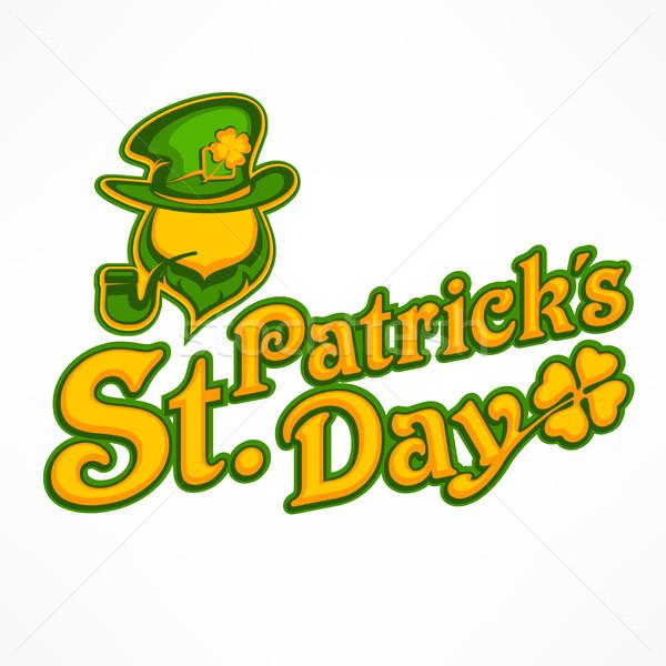Manó logo ír üdvözlőlap Szent Patrik napja arc Stock fotó © creatOR76