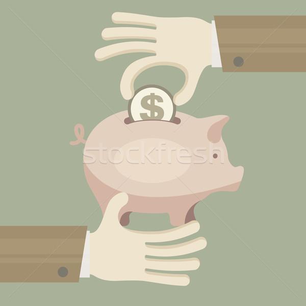 ストックフォト: コイン · 銀行 · 手 · 徳用 · ビジネス