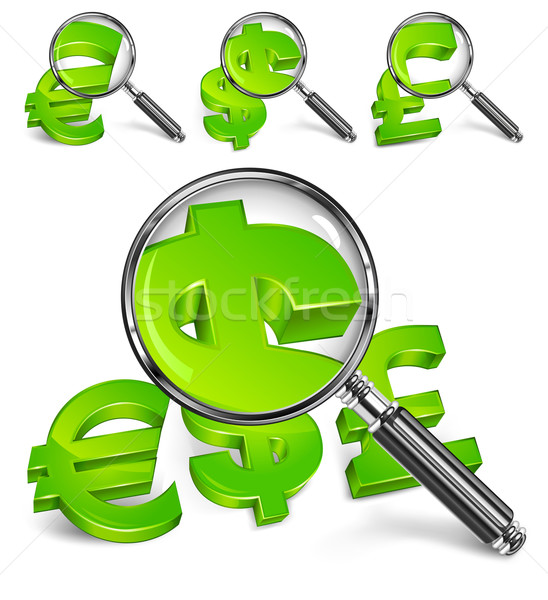 Magnifying glass & money symbol Stock photo © creatOR76