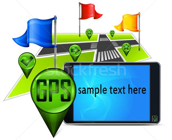 GPS навигация текста карта флагами экране Сток-фото © creatOR76